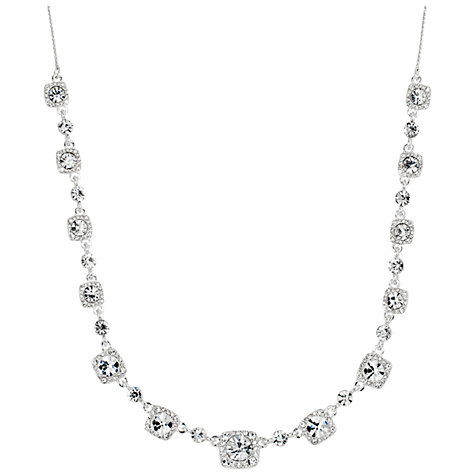 Buy Alan Hannah Clara Square Crystal Allway Necklace, Silver Online at johnlewis.com