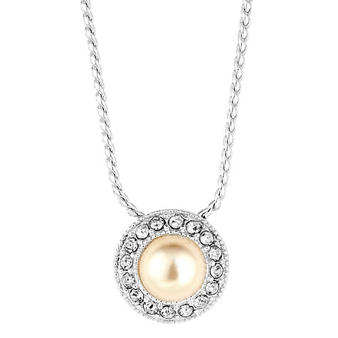 Buy Alan Hannah Round Pearl Crystal Surround Pendant, Silver Online at johnlewis.com