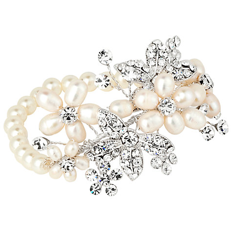 Buy Alan Hannah Freshwater Pearl Crystal Flower Stretch Bracelet, Silver Online at johnlewis.com