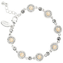 Buy Alan Hannah Round Pearl Crystal Surround Bracelet, Silver Online at johnlewis.com