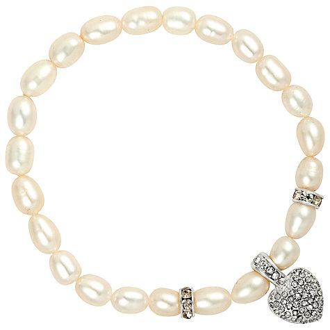 Buy Alan Hannah Freshwater Pearl Puffed Crystal Heart Bracelet Online at johnlewis.com