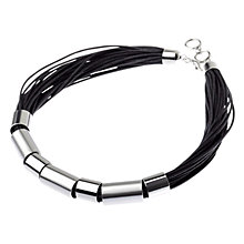Buy Adele Marie Silver Tube Black Cord Necklace Online at johnlewis.com