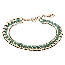 Buy Orelia Dainty Woven Bracelet, Green Online at johnlewis.com