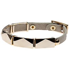 Buy Orelia Geometric Link Leather Bracelet, Off White Online at johnlewis.com