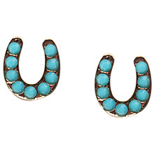 Buy Orelia Gold/Turquoise Horseshoe Stud Earrings Online at johnlewis.com