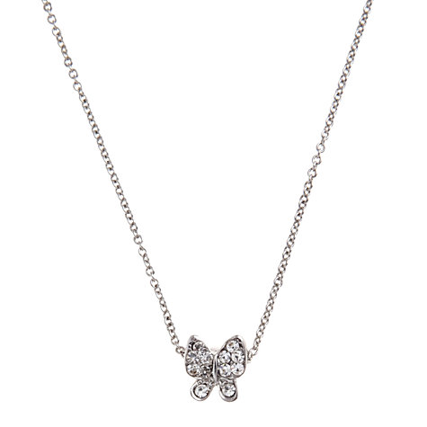 Buy John Lewis Diamante Butterfly Carded Necklace, Silver Online at johnlewis.com