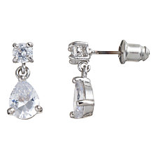 Buy John Lewis Diamante Drop Stud Carded Earrings, Silver Online at johnlewis.com