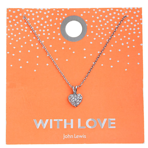 Buy John Lewis Diamante Heart Carded Necklace, Silver Online at johnlewis.com