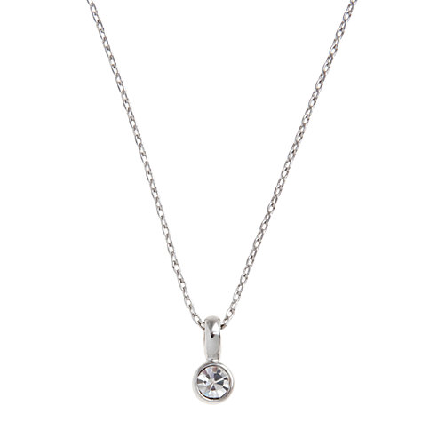 Buy John Lewis Single Diamante Drop Carded Necklace, Silver Online at johnlewis.com