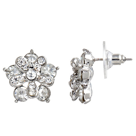 Buy John Lewis Flower Carded Stud Earrings, Silver Online at johnlewis.com