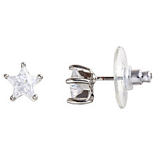 Buy John Lewis Diamante Star Carded Stud Earrings, Silver Online at johnlewis.com