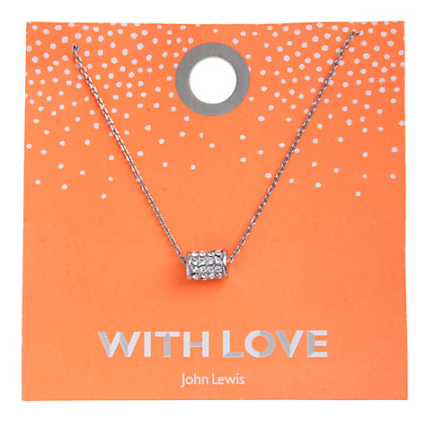 Buy John Lewis Diamante Barrel Carded Necklace, Silver Online at johnlewis.com