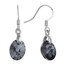 Buy John Lewis Swarovski Oval Earrings, Black Online at johnlewis.com