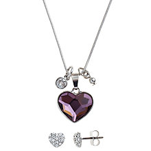 Buy John Lewis Swarovski Heart Cluster Set Online at johnlewis.com