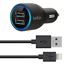 Buy Belkin Dual Car Charger with Lightning to USB Cable Online at johnlewis.com