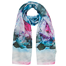 Buy Ted Baker Cubist Floral Print Silk Scarf, Pink/Blue Online at johnlewis.com