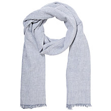 Buy John Lewis Textured Stripe Scarf, Blue Online at johnlewis.com