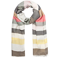 Buy John Lewis Cotton Stripe Scarf, Taupe Online at johnlewis.com