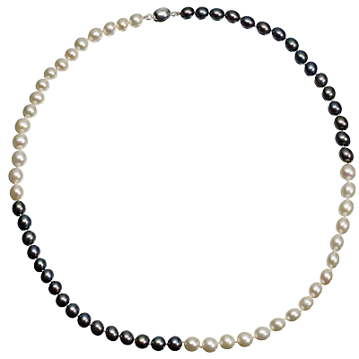 A B Davis Two Tone Quartered River Pearl Necklace, White / Black