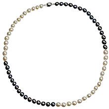 Buy A B Davis Two Tone Quartered River Pearl Necklace, White / Black Online at johnlewis.com