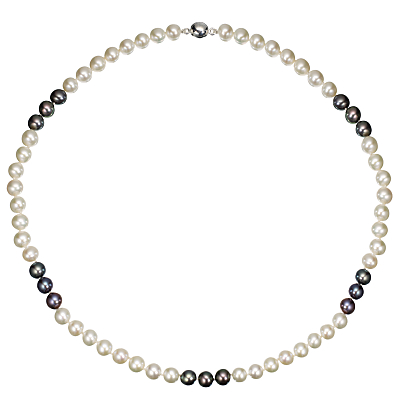 A B Davis Two Tone Spaced River Pearl Necklace, Black / White