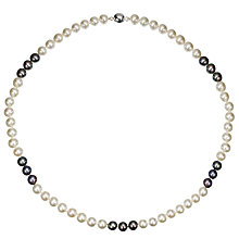 Buy A B Davis Two Tone Spaced River Pearl Necklace, Black / White Online at johnlewis.com