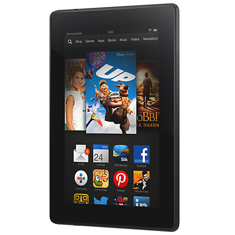 "Buy New Amazon Kindle Fire HD Tablet, TI OMAP, Fire OS, 7"", 8GB, Black Online at johnlewis.com"