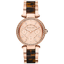 Buy Michael Kors MK5841 Women's Parker Stainless Steel Bracelet Strap Watch, Rose Gold/Brown Online at johnlewis.com