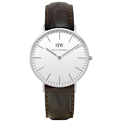 Daniel Wellington 0610DW Women's Classy York Leather Strap Watch, Brown Croc