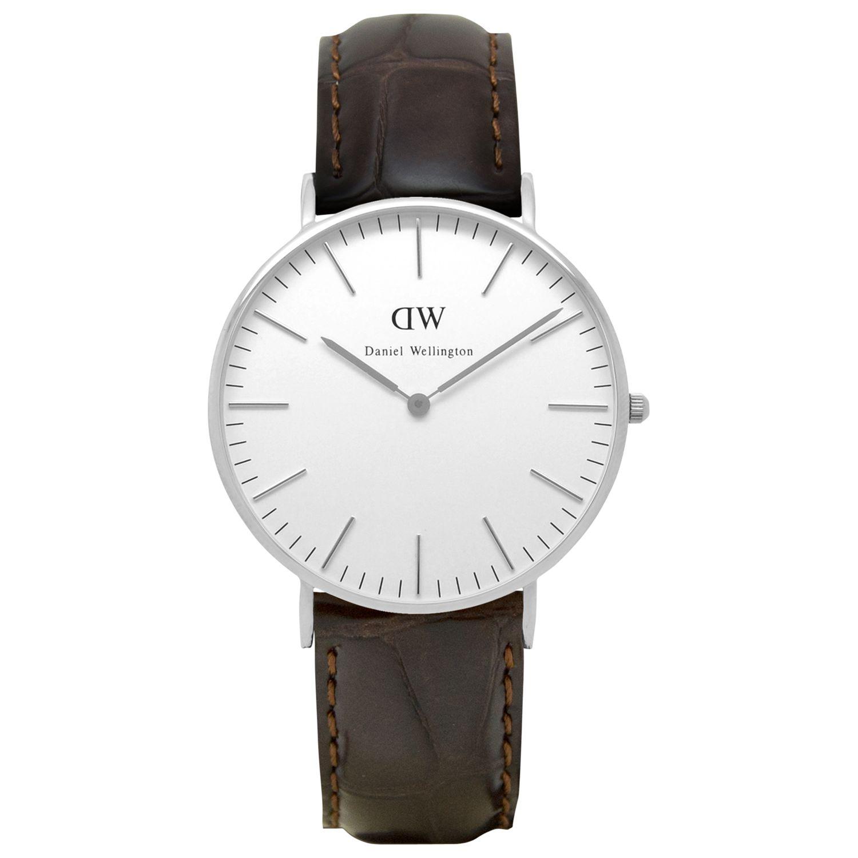 Daniel Wellington Daniel Wellington 0610DW Women's Classy York Leather Strap Watch, Brown Croc