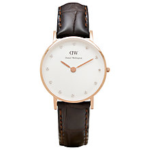 Buy Daniel Wellington 0902DW Women's Classy York Leather Strap Watch, Brown Croc/White Online at johnlewis.com
