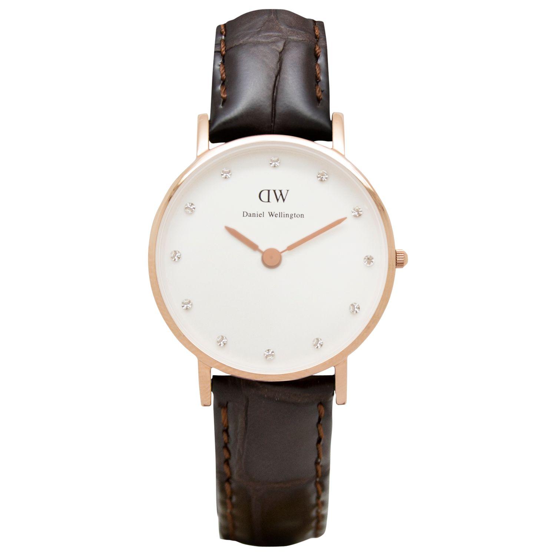 Daniel Wellington Daniel Wellington 0902DW Women's Classy York Leather Strap Watch, Brown Croc/White