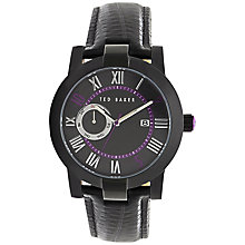 Buy Ted Baker TE1075 Men's Day / Date Lizard Strap Watch, Black / Purple Online at johnlewis.com