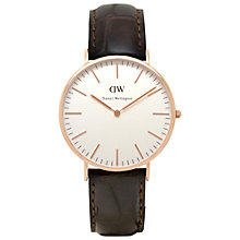 Buy Daniel Wellington Men's Classic Rose Gold PVD Leather Strap Watch Online at johnlewis.com