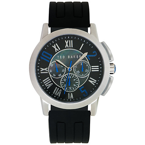 Buy Ted Baker TE1089 Men's Mother of Pearl Rubber Strap Watch, Black / Blue Online at johnlewis.com