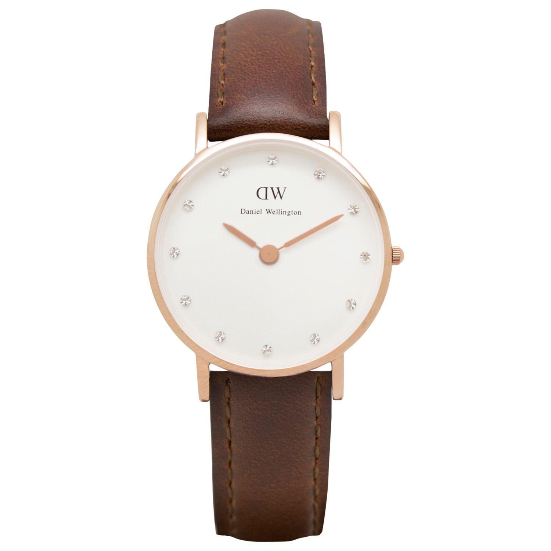 Daniel Wellington Daniel Wellington 0900DW Women's Classy St Andrews Leather Strap Watch, Brown/White