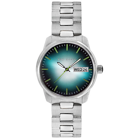 Buy Ted Baker TE3048 Men's Sunburst Effect Steel Bracelet Watch, Silver / Blue Online at johnlewis.com