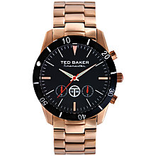 Buy Ted Baker TE3038 Men's Timemaster Stainless Steel Chronograph, Black / Rose Gold Online at johnlewis.com