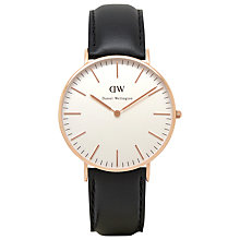 Buy Daniel Wellington Women's Classic Rose Gold PVD Leather Strap Watch Online at johnlewis.com