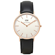 Buy Daniel Wellington 0107DW Men's Classic Sheffield Rose Gold PVD Leather Strap Watch, Black Online at johnlewis.com