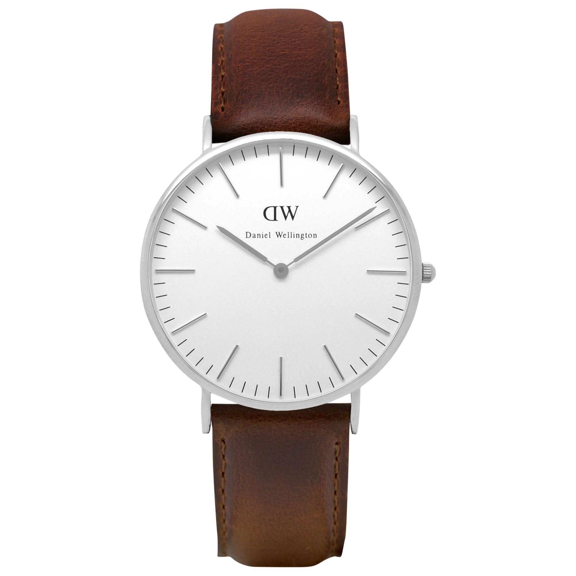 Daniel Wellington Daniel Wellington 0209DW Men's Classic Bristol Stainless Steel Leather Strap Watch, Tan/White