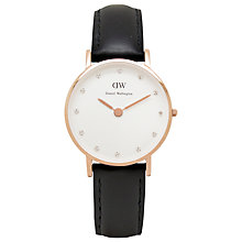 Buy Daniel Wellington 0901DW Women's Classy Sheffield Leather Strap Watch, Black/White Online at johnlewis.com