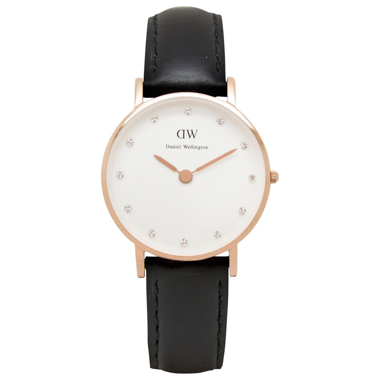 Daniel Wellington Daniel Wellington 0901DW Women's Classy Sheffield Leather Strap Watch, Black/White