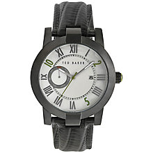 Buy Ted Baker TE1076 Men's Lizard Leather Strap Watch, Gunmetal Online at johnlewis.com