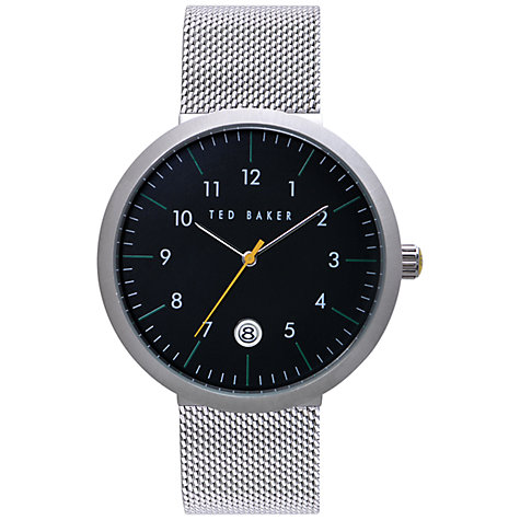 Buy Ted Baker TE3036 Men's Stainless Steel Mesh Bracelet Strap Watch, Black Online at johnlewis.com