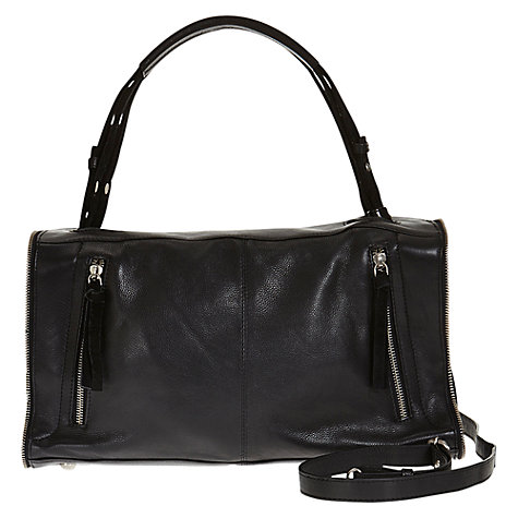 Buy Mango Leather Suede Zip Shoulder Handbag, Black Online at johnlewis.com
