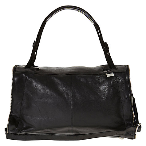 Buy Mint Velvet Leather Suede Zip Shoulder Bag, Black Online at johnlewis.com