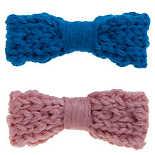 Buy John Lewis Girl Crochet Bow Clips, Pack of 2, Blue/Pink Online at johnlewis.com