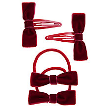 Buy John Lewis Girl Velvet Bow Hair Set, Red Online at johnlewis.com