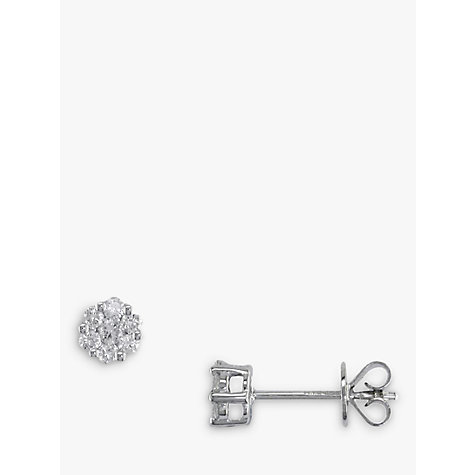 Buy EWA 18ct White Gold Diamond Cluster Small Stud Earrings Online at johnlewis.com